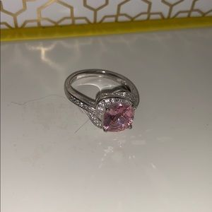 Sterling silver pink diamond ring size 7